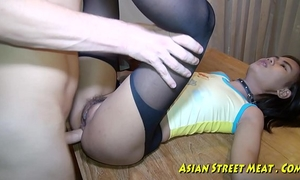 Asian woman dribbles cock juice after anal intercourse