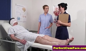 Threeway nurse facialized with biggest load