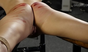 Helpless horny white wife whipped by 2
