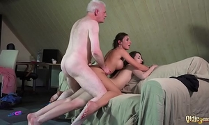 Smutty professor fucks wicked students old youthful three-some