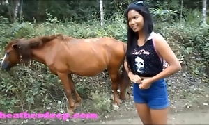 Hd heather unfathomable 4 wheeling on scary fast quad and peeing next to horses in the