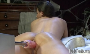 Busty non-professional fucked by marital-device machine