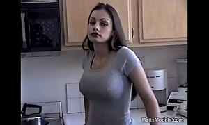 Hot aria giovanni cools off by pouring milk all over her face and billibongs