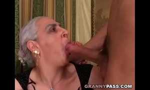 Granny sucks giant youthful rod