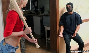 Tiny blond sucks off intruder