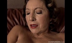 Gorgeous granny with wonderful large pantoons copulates her wet cunt for u