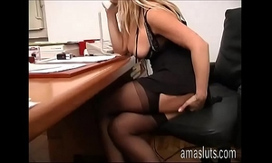 Dirty secretary jerks off her wet crack in office instead of work