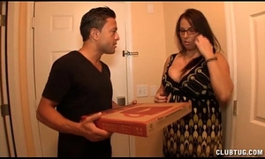 Busty milf jerking off the pizza lad