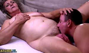 Young man banging a hirsute granny