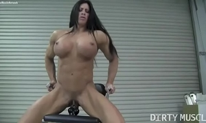 Naked female bodybuilder angela salvagno bonks a sex tool