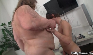 Big stomach bbw sucks and rides his juvenile knob