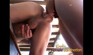 Latex-clad brunette hair slut has her muff licked and copulates a sexually excited guy