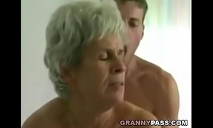 Young lad copulates unshaved granny