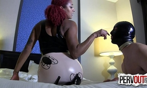 Daisy ducati trains her masked sissy floozy in chastity