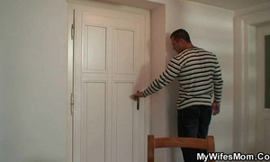 He finds mother inlaw exposed and bangs her