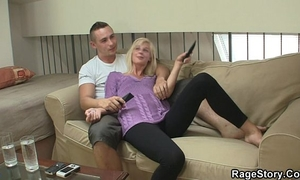 Blonde cutie swallows dick and takes it roughly