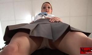 Horny school dirty slut wife masturbates upskirt white panty tease