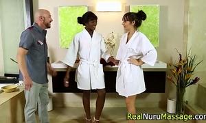 Dreamy masseuse team-fucked