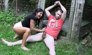 Uk indian honey gives outdoor footjob- hd