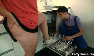 Big bumpers plumper seduces slender stud