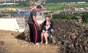 Very cute little legal age teenager housewife public gang group sex threesom at a construction website