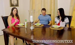 Horny floozy sister addie juniper bonks brother during the time that milf watches