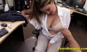 Busty slutwife trades with her marangos and vagina for specie