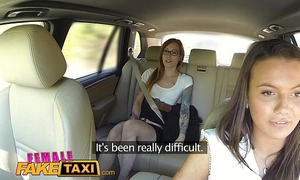 Female fake taxi sexually excited obscene lesbos take up with the tongue bald soaked cum-hole in taxi