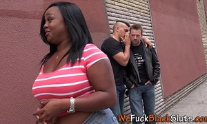 Fat dark chick swallows