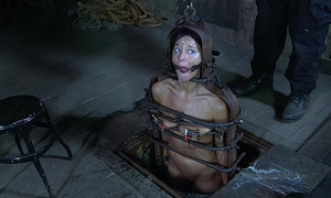 Strappado, claustrophobia and big O predicament for captive horny white wife