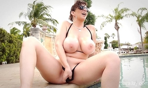 Sara jay shows off her astounding large love muffins in petite bikini
