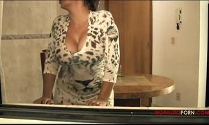 Sexy latin babe mama gives son breakfast sex
