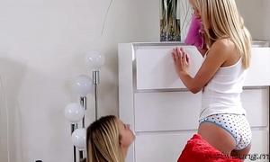 Deliciously teenies scarlett and sierra are having lesbo indoor pleasure