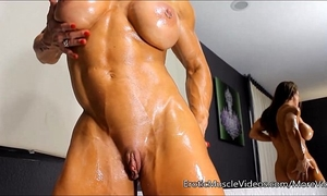 Eroticmusclevideos oiling fleshly female muscles