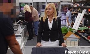 Mature white lady gangbanged at pawn shop