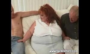 Huge bbw redhead takes on 3 biggest jocks