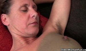 Granny inge receives fingered up her full bushed vagina
