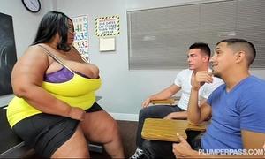 Busty dark bbw teacher copulates two hung chap students