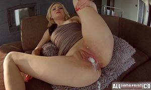 All interior trio with double creampie for golden-haired newbie