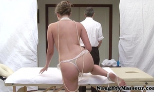 Allie haze on massage table desires rod