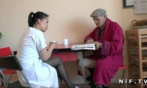 French old stud papy voyeur doing a youthful oriental nurse