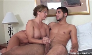 Naughty milf jerks off a stripped youthful man