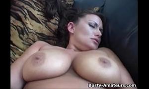 Busty amatuer leslie masturbates her hairless vagina
