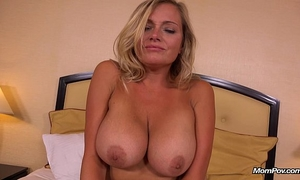 Hot breasty milf does 1st porn for mompov