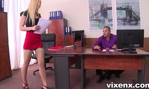 Sexy blond vanda longing in nylons office footjob and sex