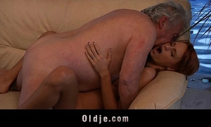 Grandpa favourable to fuck a hot youthful redhead chick
