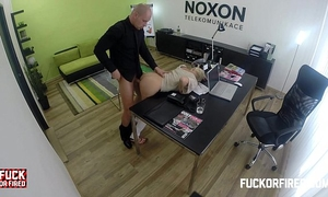 Slutty golden-haired fucking to keep her job