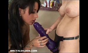 Busty brandi and mya fuck with giant ding-dong dildos