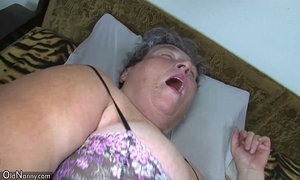 Old corpulent mama teaches her overweight younger woman masturbating use sex tool