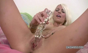 Blonde milf kali kavalli is banging her large glass sex tool